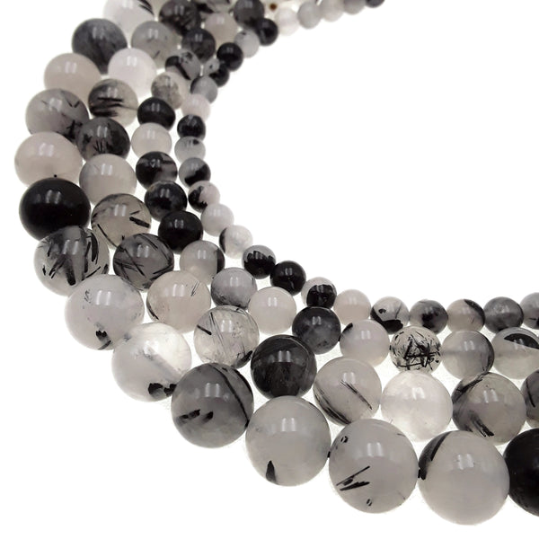 black tourmalinated quartz smooth round beads