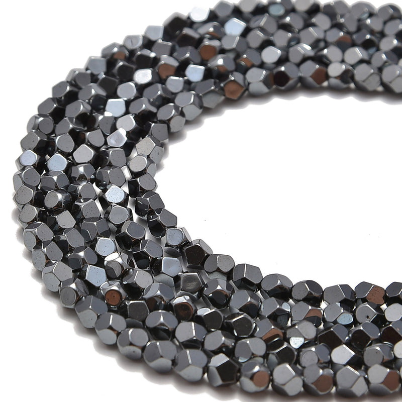 gray hematite faceted nugget beads
