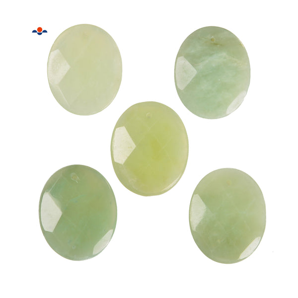 Natural Light Green Jade Oval Shape Pendant Size 40x50mm Sold per Piece
