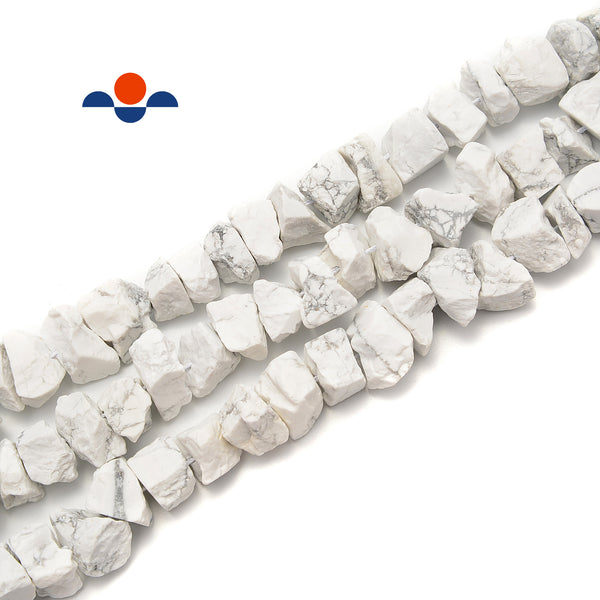 "Howlite Rough Nugget Chunks Center Drill Beads Approx 6x17mm 15.5"" Strand"