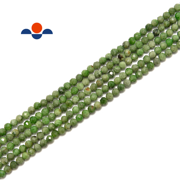"Diopside Faceted Round Beads Size 2mm 3mm 4mm 15.5"" Strand"