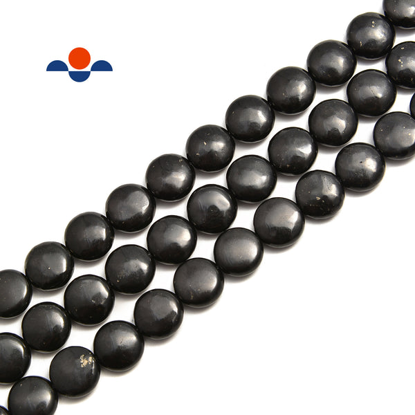 "Shungite Smooth Flat Coin Beads Size 10mm 12mm 15.5"" Strand"