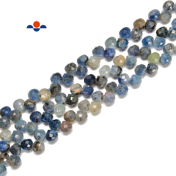 Only 1 Strand Rock Kyanite Top Drilled Loose Beads Slices Charms Pendants,Natural Blue Kyanite Gemstones Graduated Spacers for Necklace
