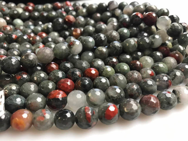 african bloodstone faceted round beads