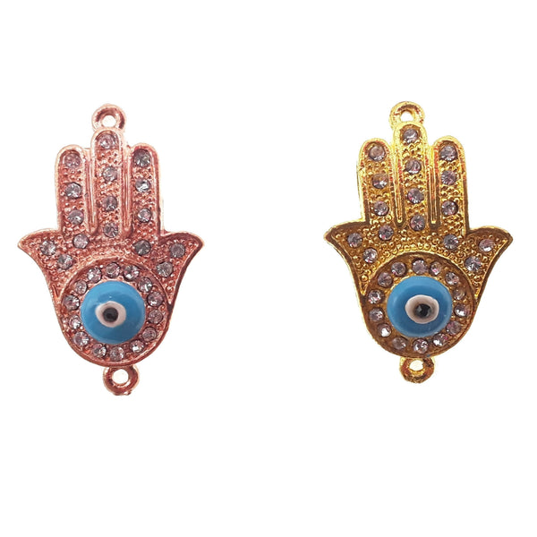hamsa hand charm gold rose gold plated copper with micro pave clear zircon