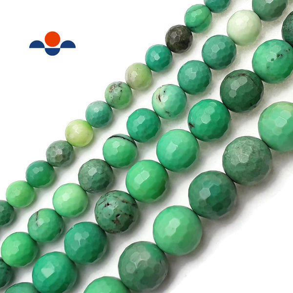 "Natural Chrysoprase Faceted Round Beads 14mm 16mm 15.5"" Strand"