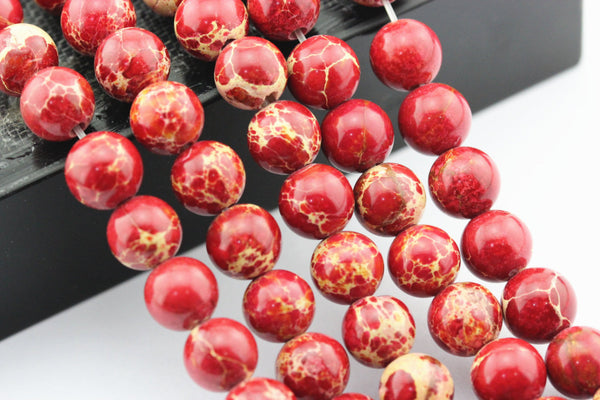 "2.0mm Hole Red Sea Sediment Jasper Smooth Round Beads 6mm 8mm 10mm 15.5"" Strand"
