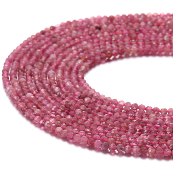 natural pink tourmaline faceted round beads
