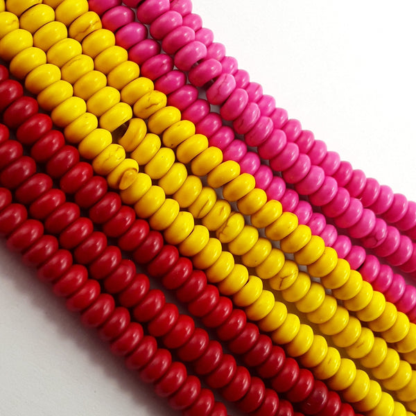 red yellow pink howlite turquoise smooth rondelle beads