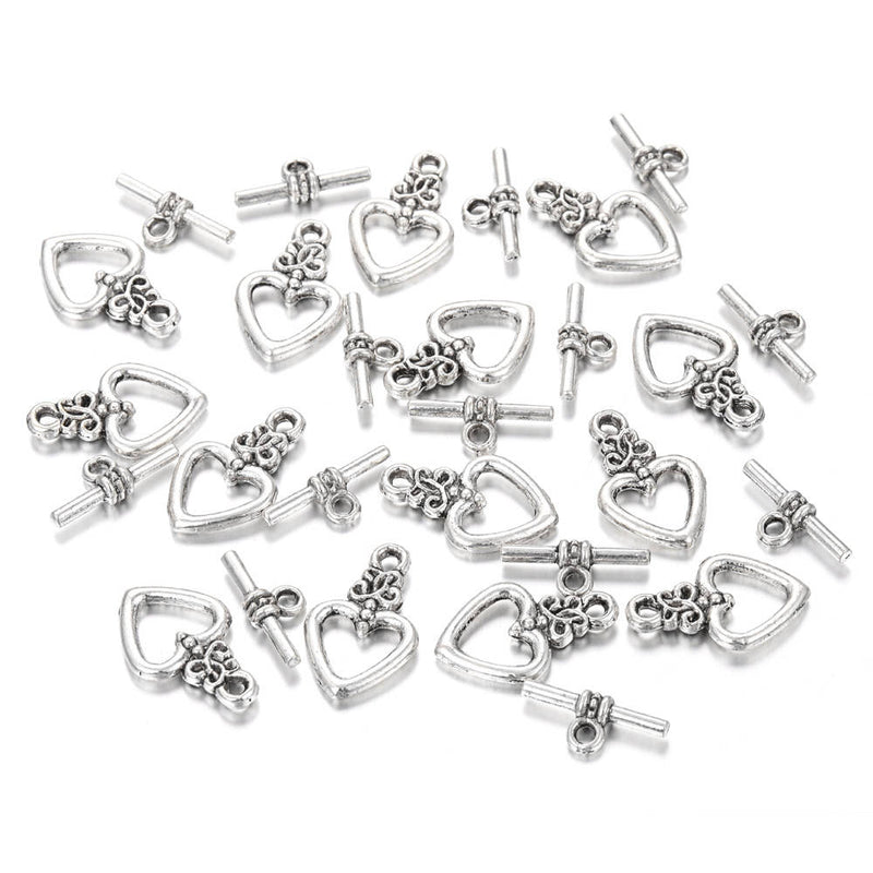 anti silver plated charm toggle clasp heart
