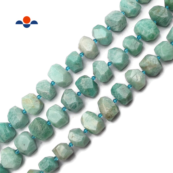 "Natural Green Amazonite Faceted Nugget Chunk Beads Approx 13x20mm 15.5"" Strand"