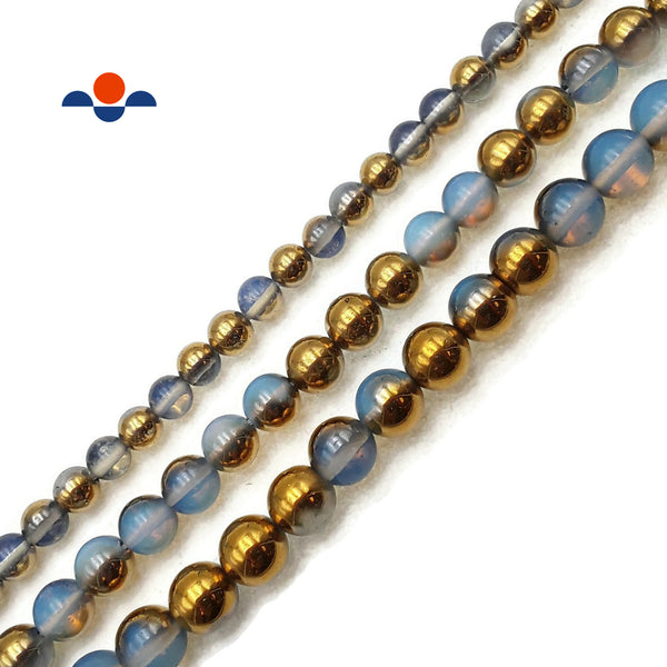 "Gold & Blue Coated Opalite Smooth Round Beads 8mm 10mm 12mm Approx 15.5"" Strand"