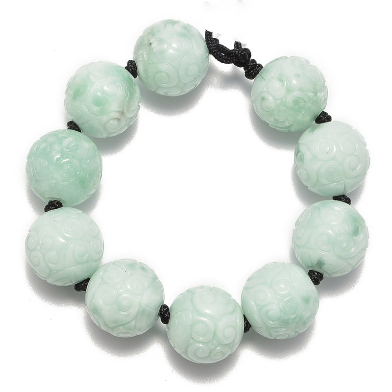large hole natural green moonstone carved round beads