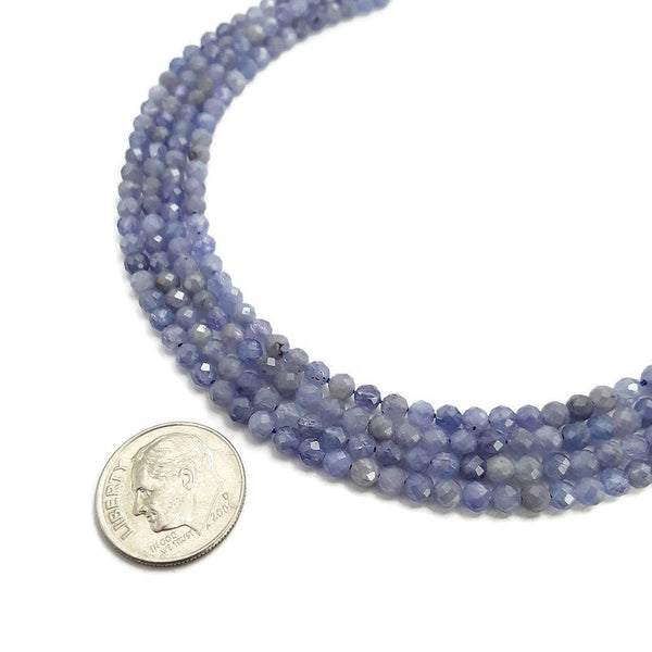natural tanzanite faceted round loose beads