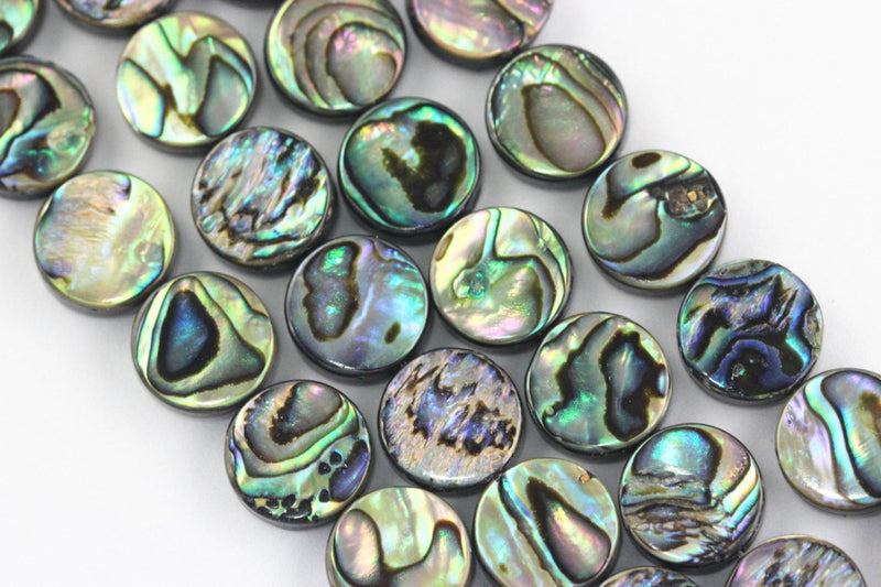 "Abalone Coin Shape Beads 8mm 10mm 12mm 14mm 16mm 15.5"" Strand"