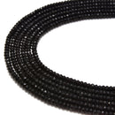 black dyed jade faceted rondelle beads
