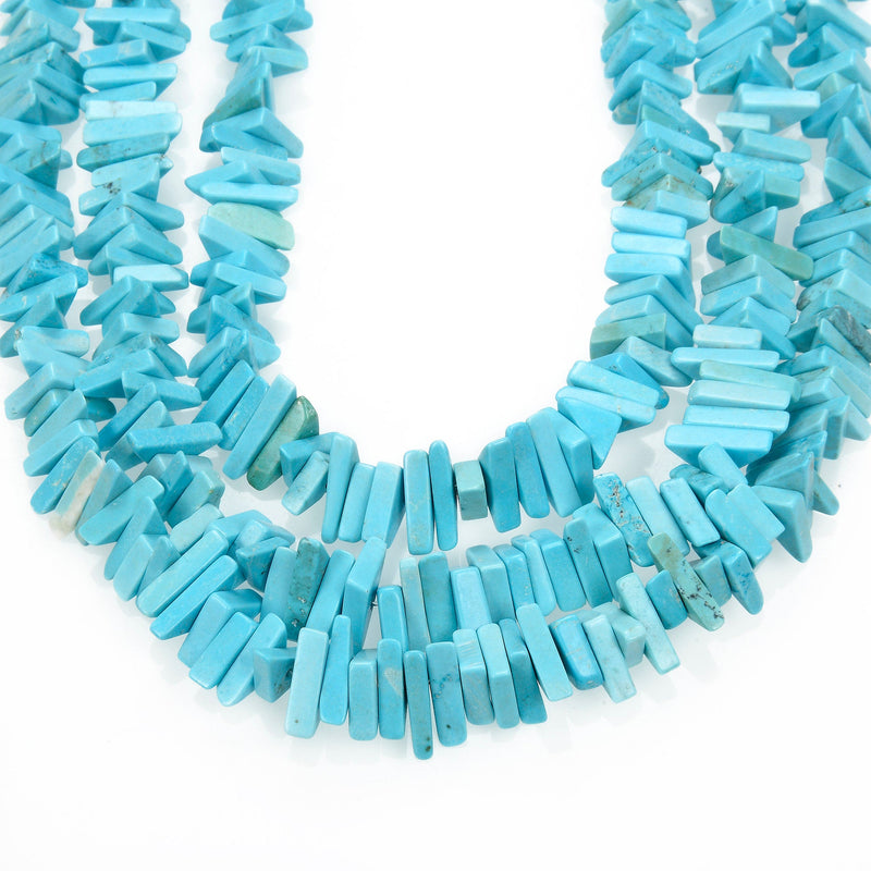 light blue turquoise triangle nugget slice chips beads