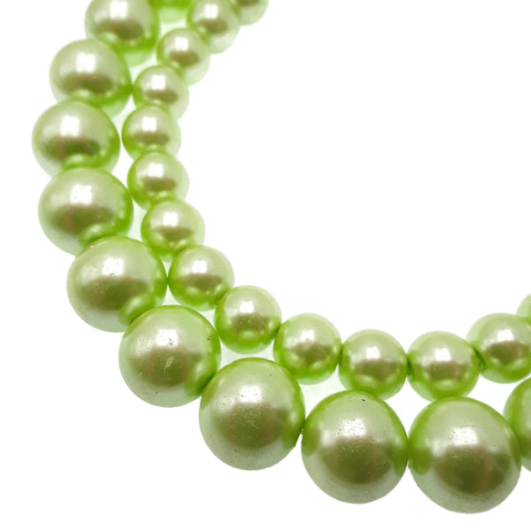 "Green Glass Pearl Smooth Round Beads 11mm 16mm 15.5"" Strand"