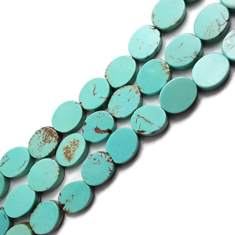 light blue howlite turquoise flat oval beads