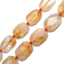 citrine rectangle slice faceted octagon beads