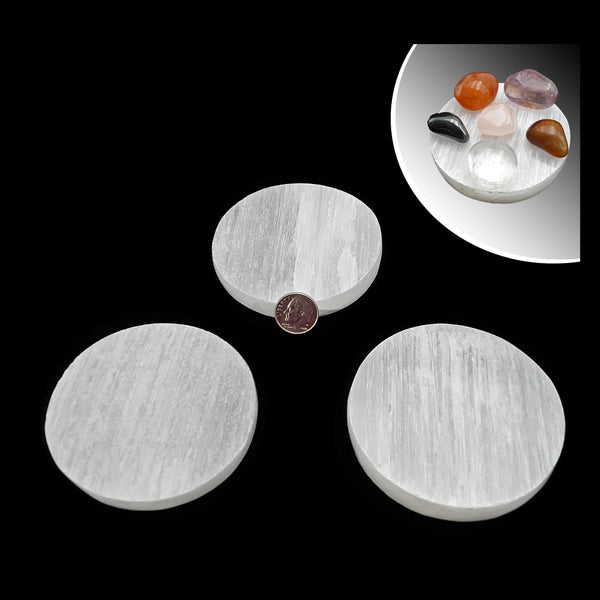 "Selenite Round Circle Crystal Charging Plate 2.8'' x 2.8"" Inches 3/8"" Thick"