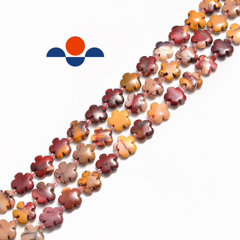 mookaite flower shape smooth beads