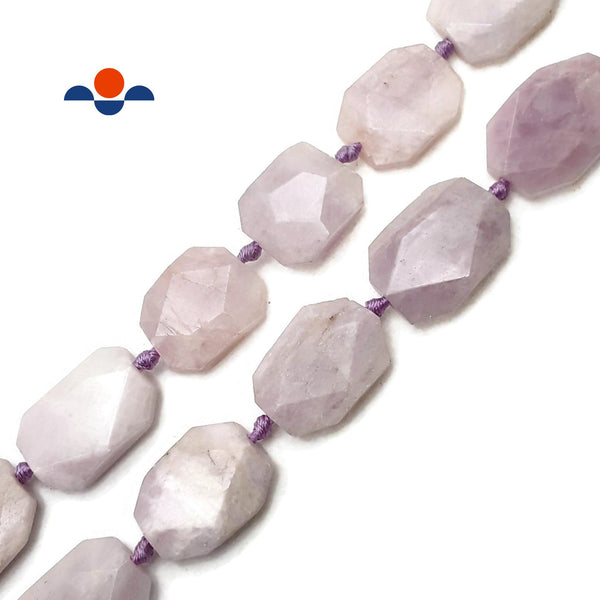 "Kunzite Rectangle Slice Faceted Octagon Beads Approx 20x30mm 15.5"" Strand"