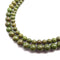 epidote pyrite Inclusions smooth round beads