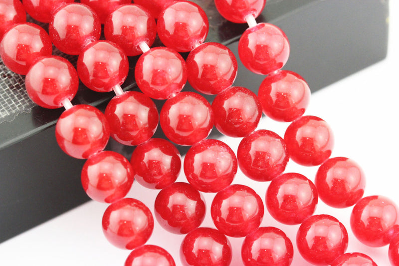 large hole red dyed jade smooth round beads