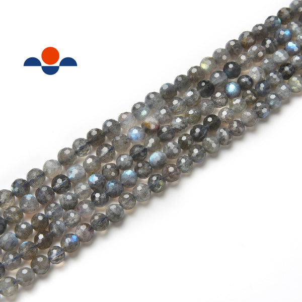 "High Quality Labradorite Faceted Round Beads 6mm 15.5"" Strand"