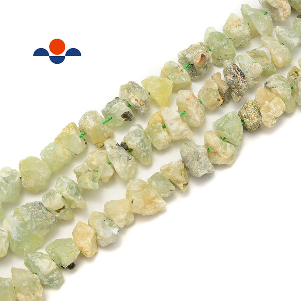 "Prehnite Rough Nugget Chunks Center Drill Beads Approx 8x15mm 15.5"" Strand"
