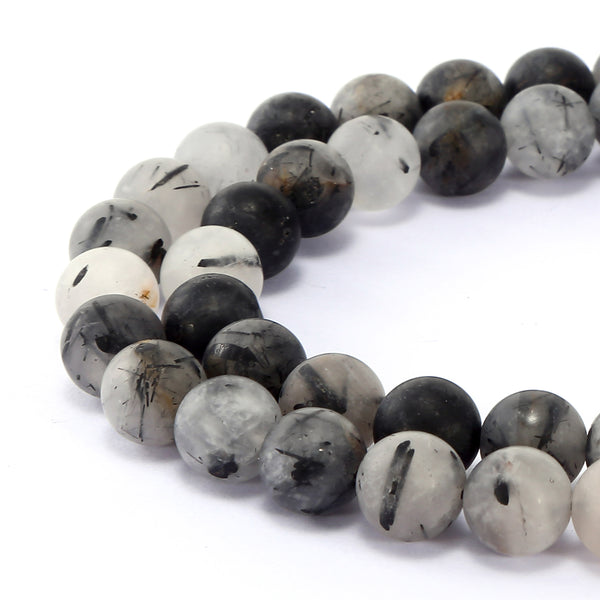 black tourmalinated quartz matte round beads