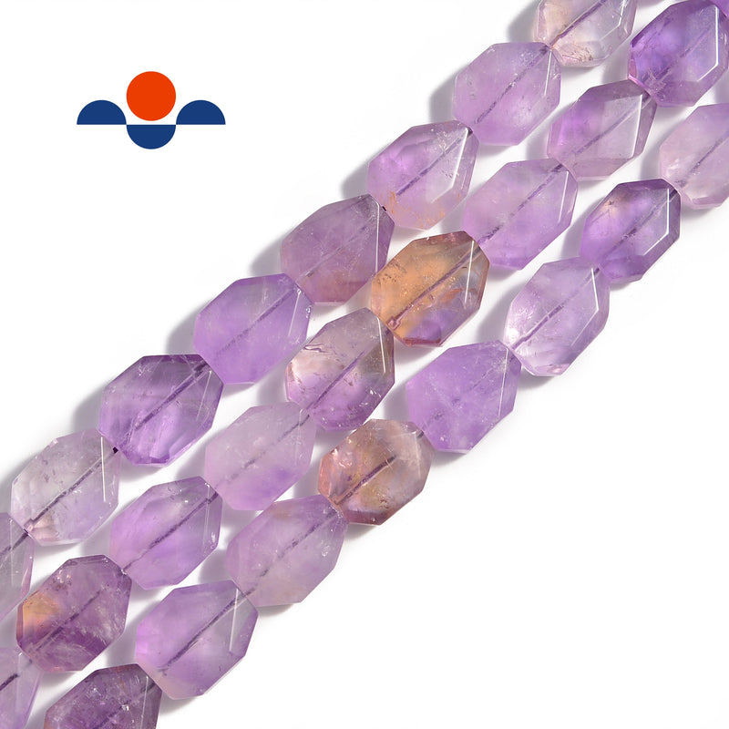 natural ametrine rectangle twist faceted octagon beads