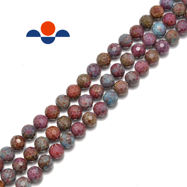 ruby kyanite faceted round beads