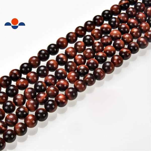 large hole red Tiger's eye smooth round beads