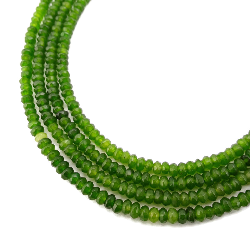 green dyed jade faceted rondelle beads