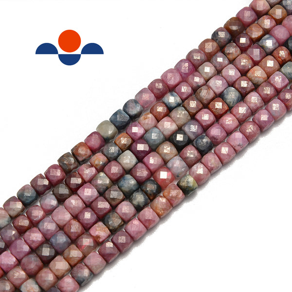 natural multi color tourmaline faceted square cube dice beads