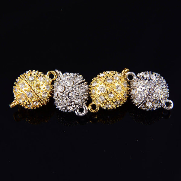 silver gold plated strong magnetic rhinestone clasps round