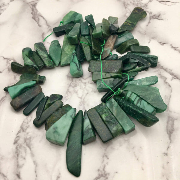 african jade graduated irregular slice Sticks Points beads