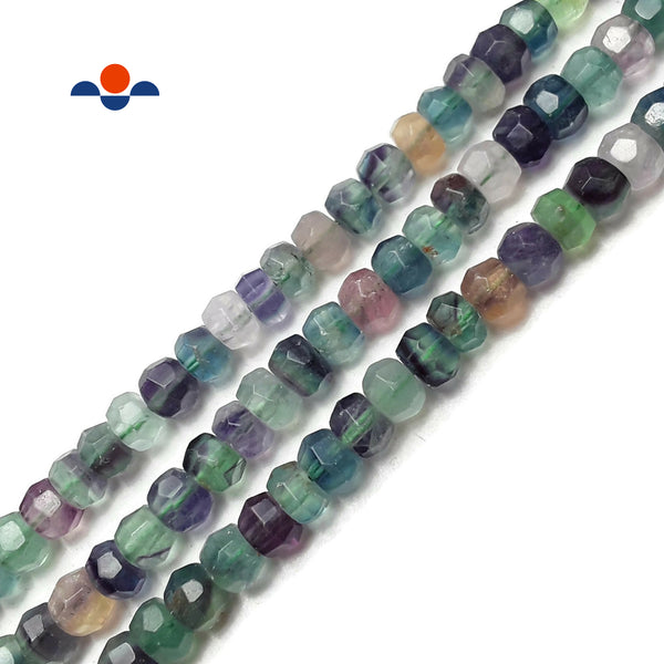 "Natural Fluorite Faceted Rondelle Beads Approx 5x8mm 15.5"" Strand"