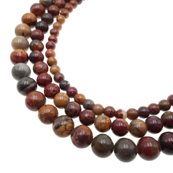 "2.0mm Hole Red Creek Jasper Smooth Round Beads 6mm 8mm 10mm 15.5"" Strand"