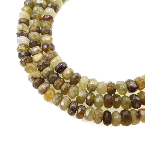 "Natural Green Garnet Irregular Faceted Rondelle Beads Approx 6x10mm 15.5"" Strand"