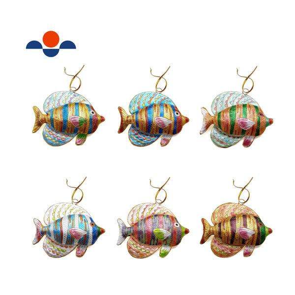 "Cloisonne Christmas Tree Ornament Tropical Fish 3.5"" Inches Wide Sold Per Piece"