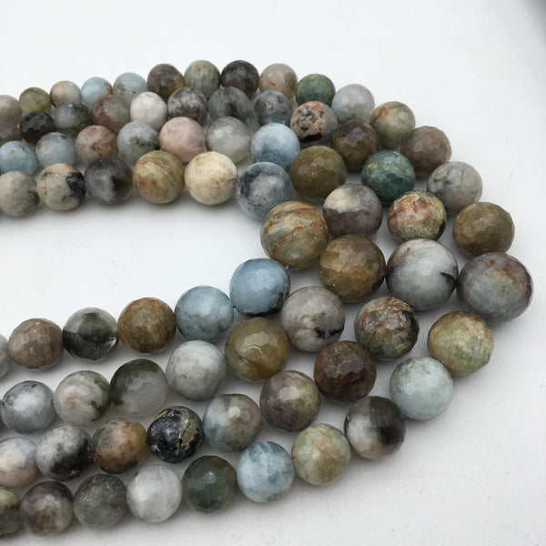aquamarine graduated faceted round beads