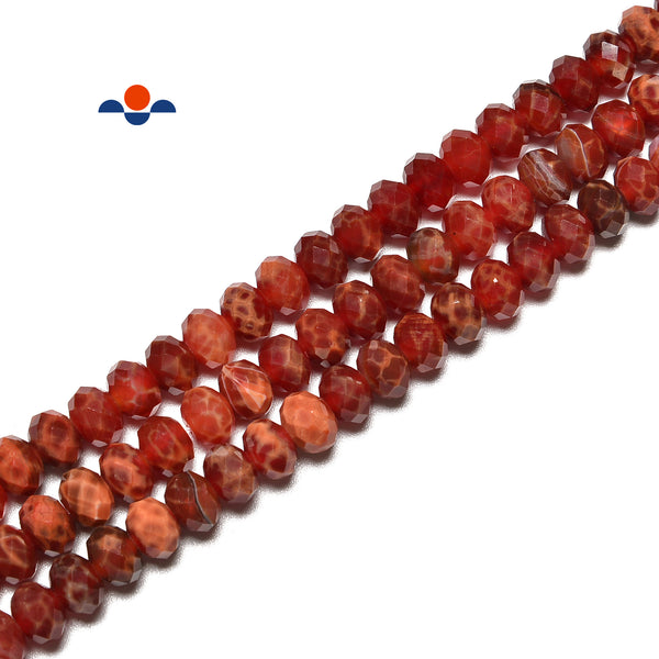 Burnt Orange Fire Agate Hard Cut Faceted Rondelle Beads 4x6mm 5x8mm 15.5''Strand