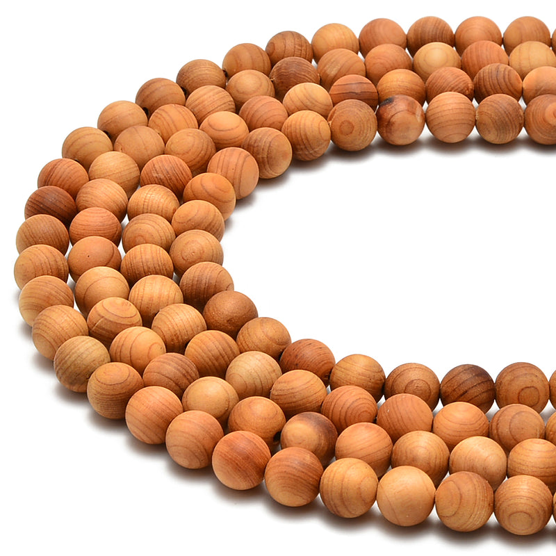"Golden Sandalwood Smooth Round Beads 6mm 8mm 10mm 12mm 15.5"" Strand"