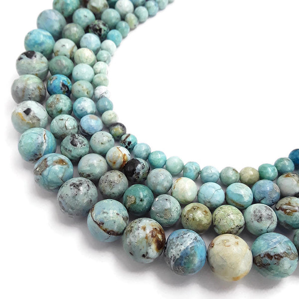 peruvian blue opal smooth round beads