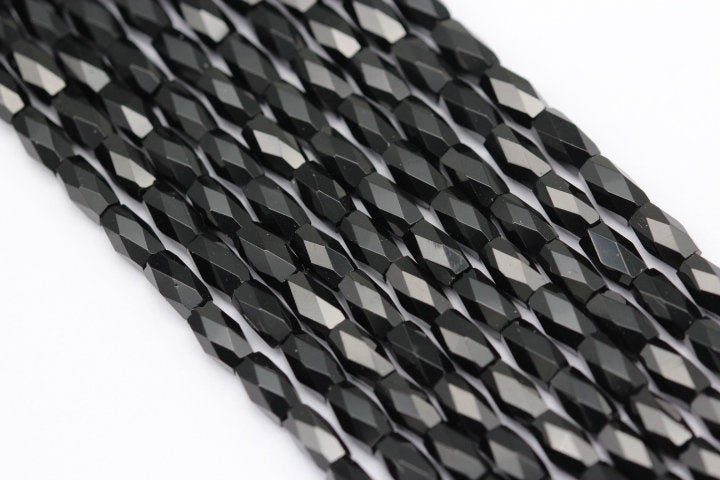 black crystal glass faceted rice beads