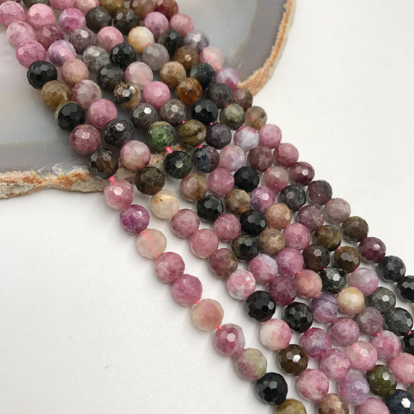 multi color tourmaline faceted round beads
