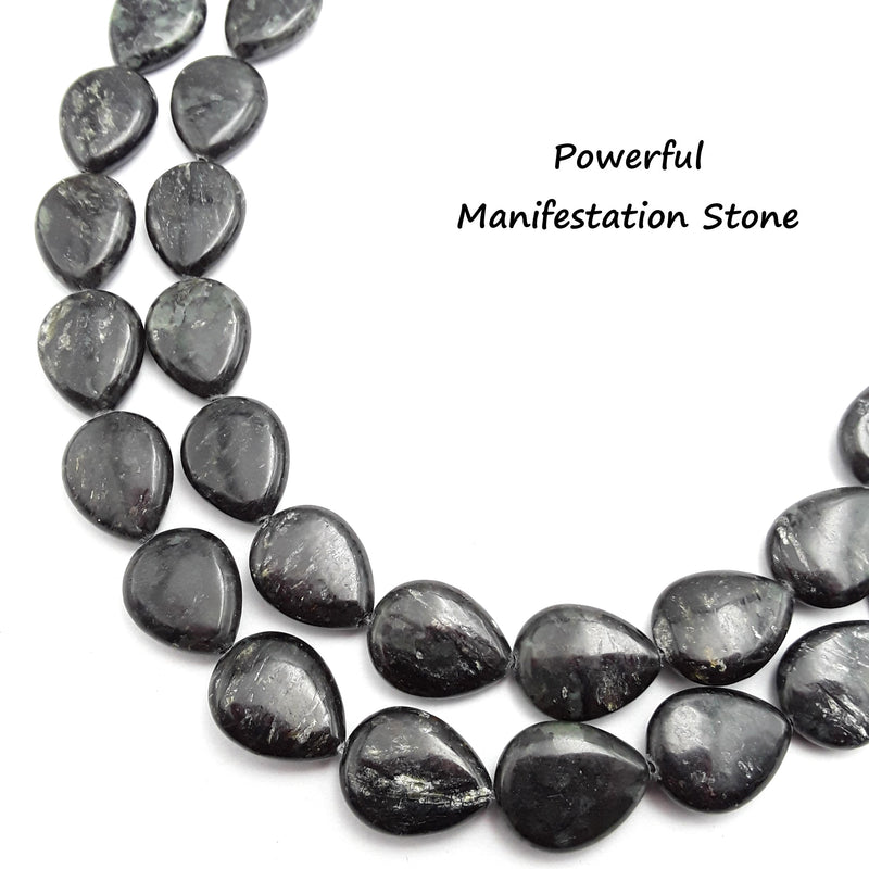arfvedsonite smooth flat teardrop beads
